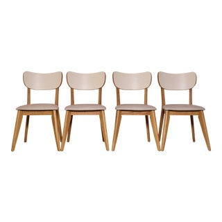 1960s Vintage Contemporary Birch & Vinyl Dining Chairs- Set of 4 For Sale
