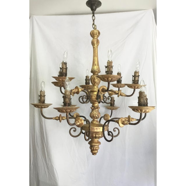 Italian 19th Century Carved Wooden Fragments Chandelier With 12 Arms For Sale - Image 13 of 13