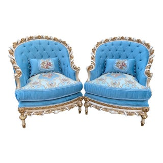 French Louis XVI Hand Carved Solid Wooden Chairs - a Pair For Sale