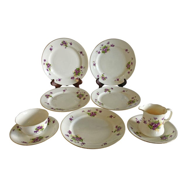 1950s Violet Floral Bone China Luncheon Plates - Set of 9 For Sale