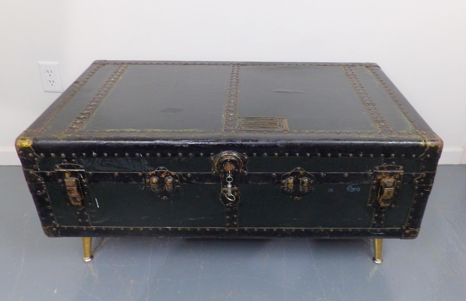 Antique Green Metal Steamer Trunk Coffee Table   Image 5 Of 11