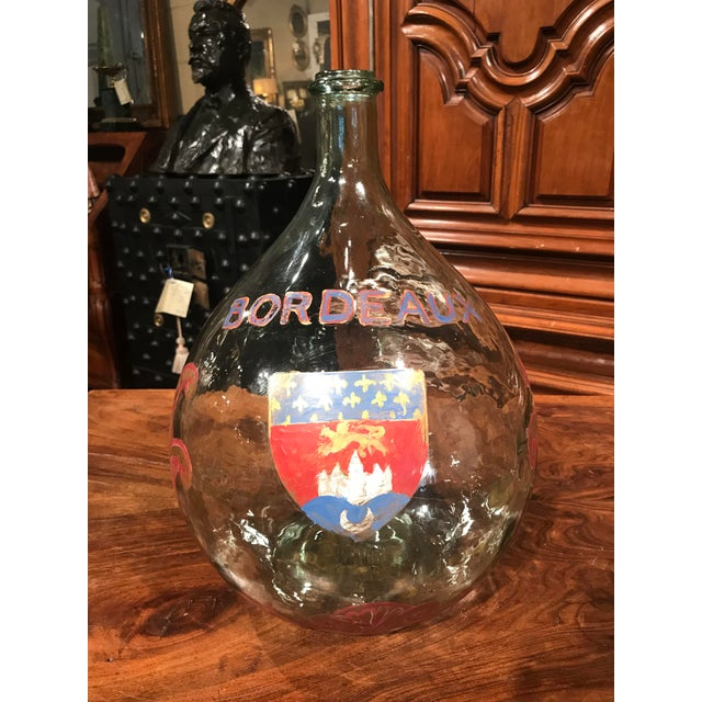 2000 - 2009 Large French Handblown Wine Bottle With Handpainted Coat of Arms of Bordeaux For Sale - Image 5 of 11