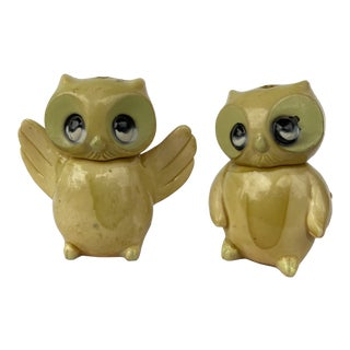 Antique Early 20th Century Celluloid Tiny Owl Figurines - a Pair For Sale