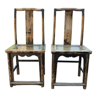 Vintage Mid Century Wood Distressed Chinoiserie Dining Side Chairs - a Pair For Sale