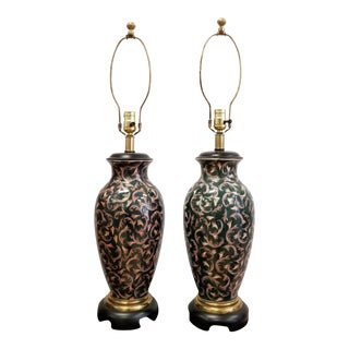 Frederick Cooper Chinoiserie Ginger Jar Table Lamps - A Pair For Sale