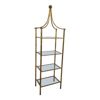 1970s Vintage Italian Gold Painted Faux Bamboo Etagere For Sale