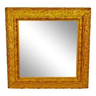 Antique Framed Carved Wood Gold Painted Square Mirror For Sale