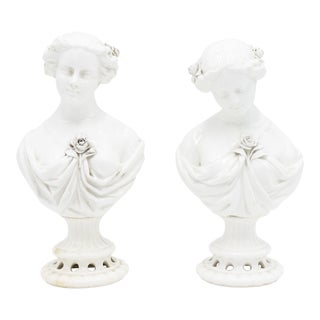 Victorian White Porcelain Female Busts - a Pair For Sale
