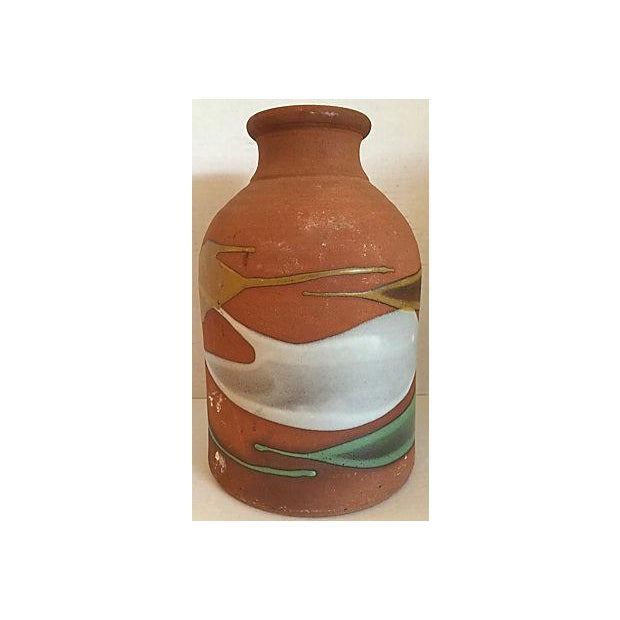 Large and heavy artistic pottery bottle. Excellent vintage condition. Partially glazed with beautiful colors. Some dirty...