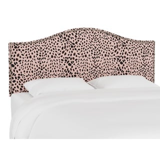 Queen Headboard, Washed Cheetah Pink Black For Sale