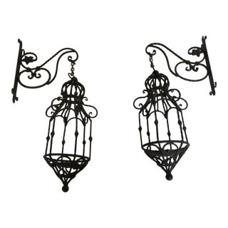 Wrought Iron Wall Lamps Light Fixtures - a Pair For Sale