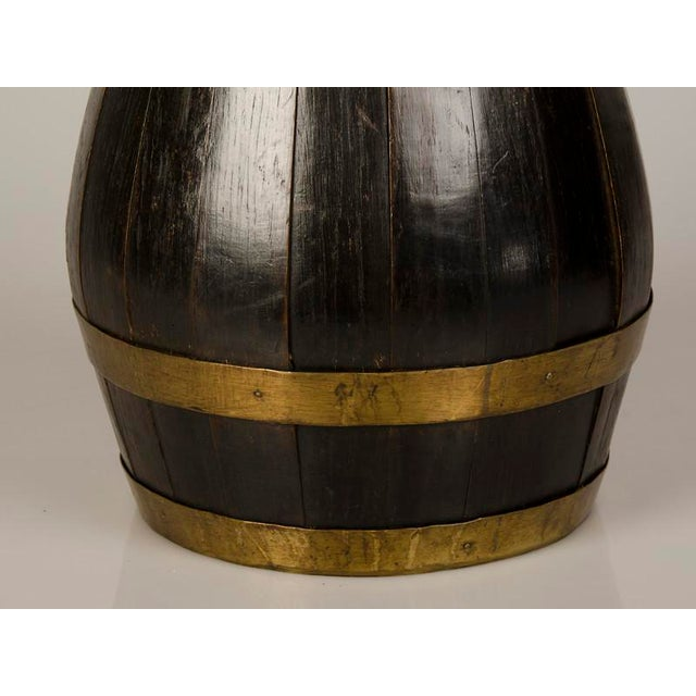 19th Century Huge English Brass Banded Oak Beer Pitcher For Sale In Houston - Image 6 of 7