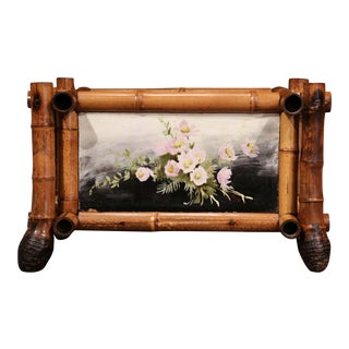 Early 20th Century French Bamboo With Hand Painted Floral Tiles Jardinière For Sale