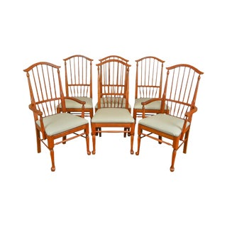 Pennsylvania House Spindle Back Set of 6 Maple Dining Chairs For Sale