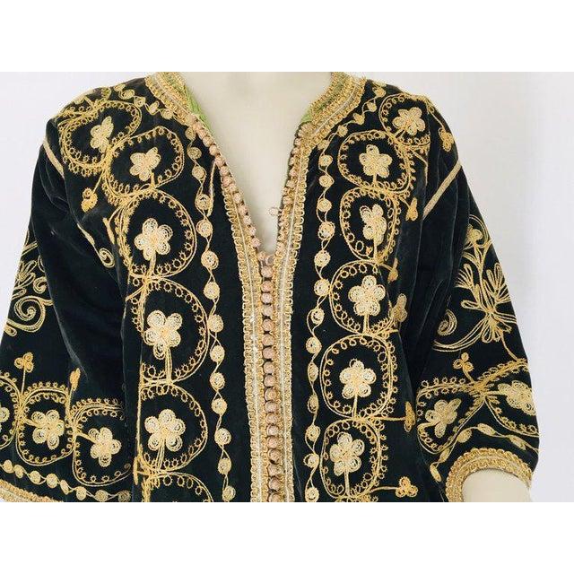 Vintage Caftan, Black Velvet and Gold Embroidered, 1960s For Sale - Image 12 of 13