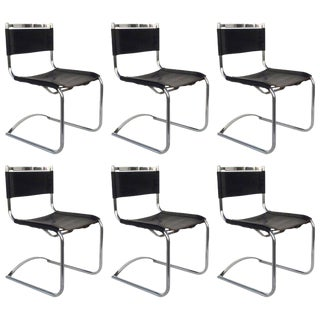 1970s Chrome & Saddle Leather Cy Mann Dinning Chairs - Set of 6 For Sale