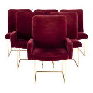 Milo Baughman for Thayer Coggin Mid Century Brass and Velvet Thinline Dining Chairs - Set of 6 For Sale