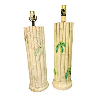 1960s Mid-Century Ceramic Faux Bamboo Lamps - a Pair For Sale