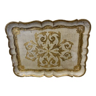 Gold Leaf & White Florentine Tray For Sale