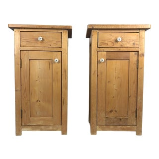 19th C English Pine Nightstands/Bedside Tables - a Pair For Sale