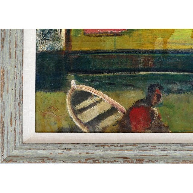 1960s 1960 Wpa Style Fishing Boatyard Oil Painting For Sale - Image 5 of 10