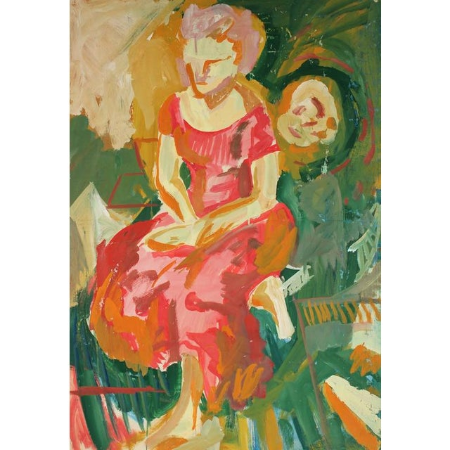 This circa 1960s acrylic on paper portrait of a woman in a pink dress is by San Francisco painter Jack Freeman...