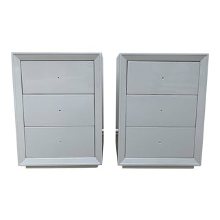 James Mont 3-Drawer Lacquered Nightstands - a Pair For Sale