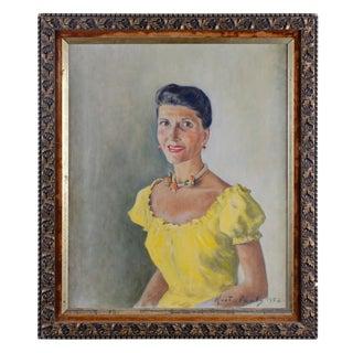 1950s Vintage Baron Kurt Von Pantz Portrait of Mrs. Huntington Reed Hardwick Painting For Sale