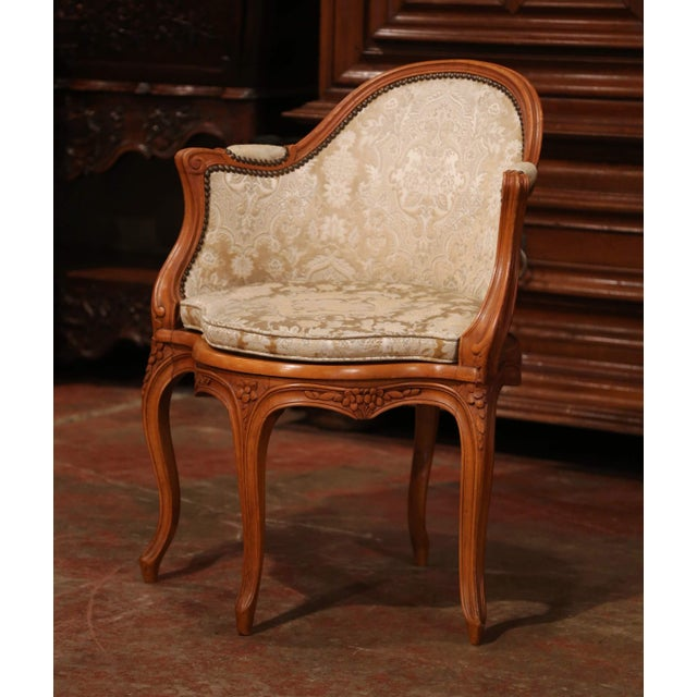 Set of Four Early 20th Century French Louis XV Carved Walnut Desk Armchairs For Sale In Dallas - Image 6 of 12
