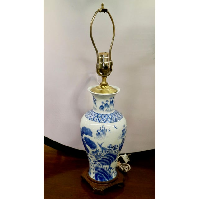 Blue & White Asian Lamps - A Pair For Sale - Image 4 of 8