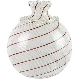 Dino Martens Murano Copper Aventurine White Ribbons Italian Art Glass Bud Vase For Sale