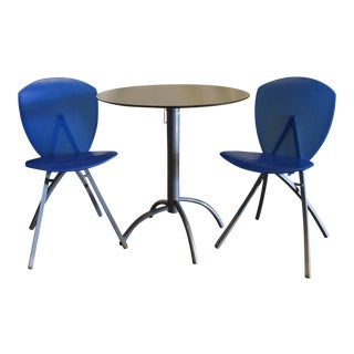 Modern Segis Cafe Table and Foldable Chairs - 3 Pieces For Sale