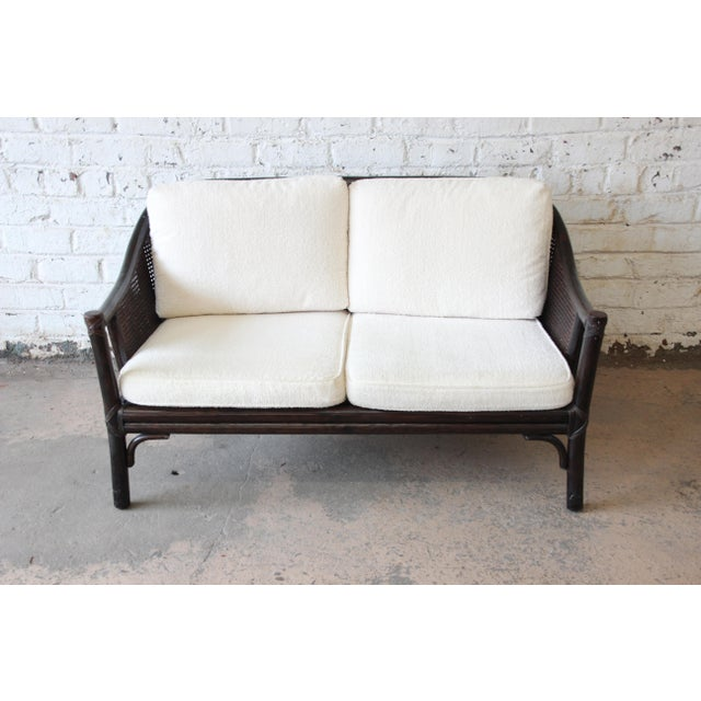 Asian Rattan and Cane Settee or Love Seat by McGuire of San Francisco For Sale - Image 3 of 13