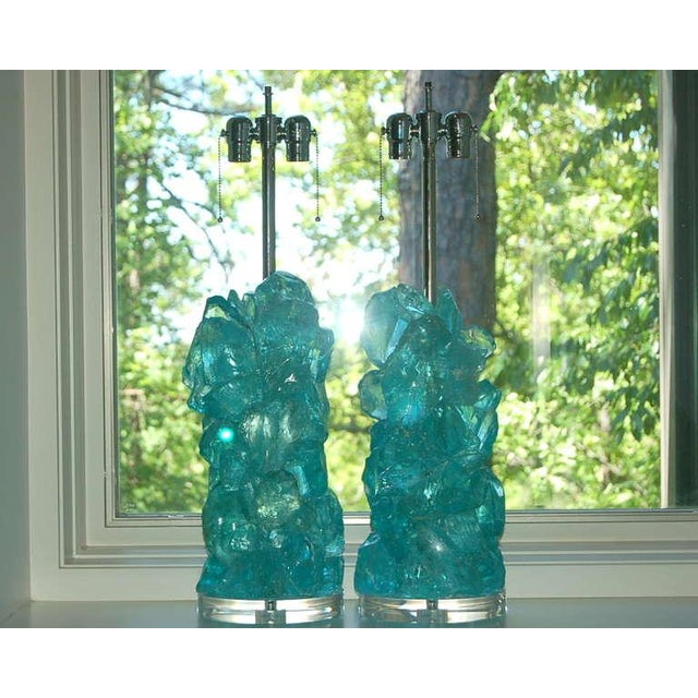 Rock Candy glass table lamps by Swank Lighting! These exquisite crystal cluster lamps in aqua are made of 100% recycled...