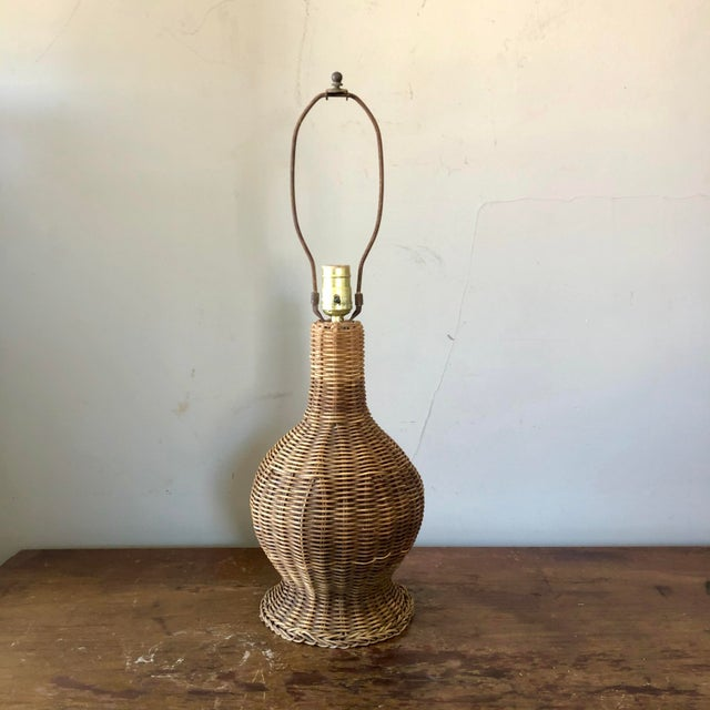 Wicker Vintage Natural Wicker Table Lamp For Sale - Image 7 of 7