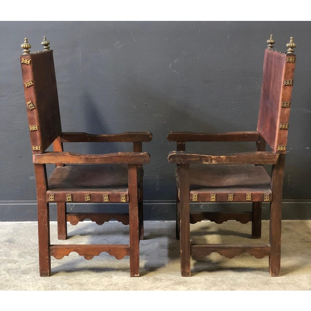 Gothic Pair of Antique Leather and Wood Spanish Revival Arm Chairs For Sale - Image 3 of 10