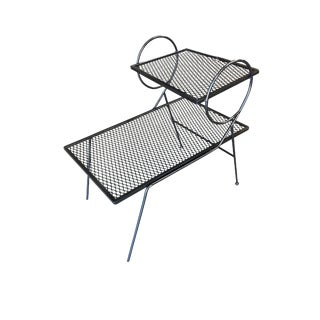 Early Two-Tier Art Deco Mesh Steel Outdoor/Patio Side Table by Woodard For Sale
