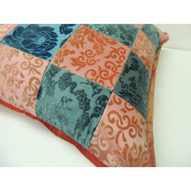 Asian Pink and Blue Romance Through the Gilded Age's Asian Textiles Patchwork Pillow For Sale - Image 3 of 6