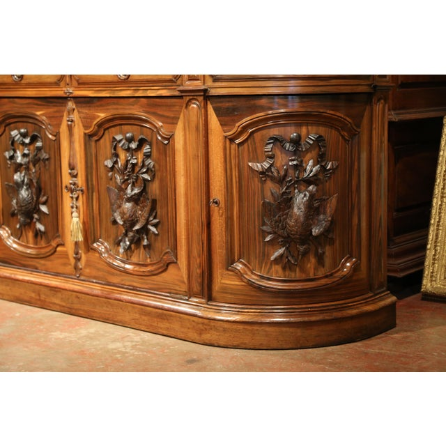 Brown Large 19th Century French Carved Rosewood Hunting Buffet With Deer and Birds For Sale - Image 8 of 11
