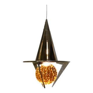 1990s Modern Carlo Nason Pendant Lamp Amber Glass For Sale