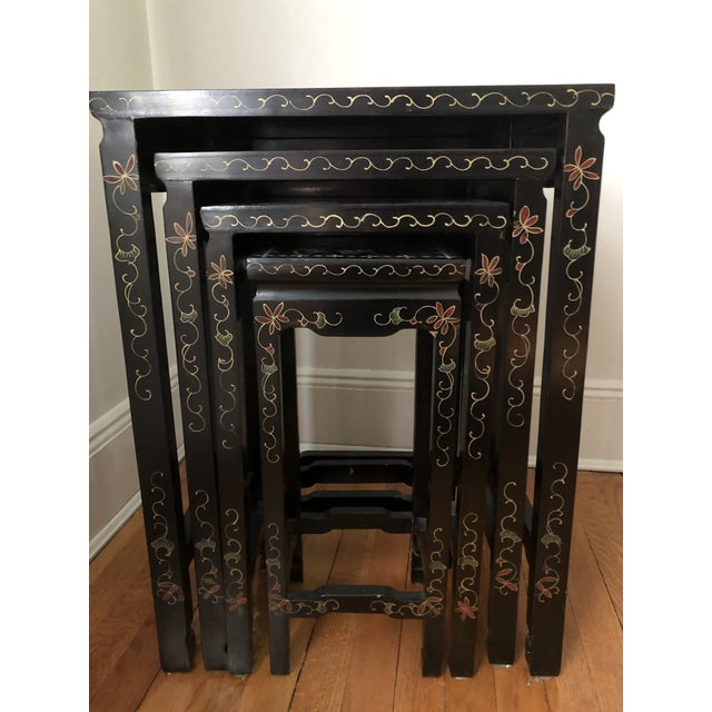Wood Mid Century Asian Black Lacquer Nesting Tables - Set of 4 For Sale - Image 7 of 13