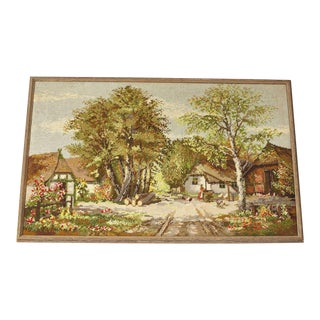 1970's Vintage Needlepoint of German Countryside For Sale