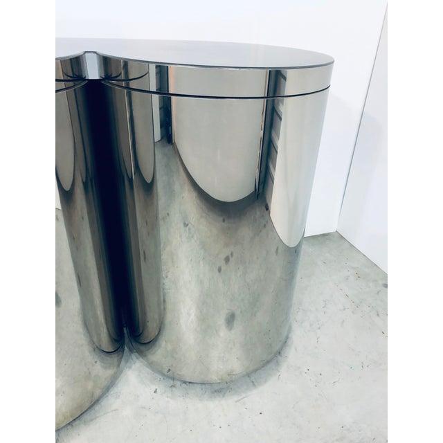 Brass Paul Evans Mirror Polished Steel Cylinder Sideboard For Sale - Image 7 of 13
