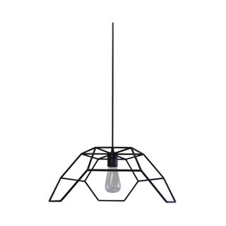 Bronze and Steel Hexa-Pyramid Pendant Light For Sale