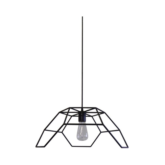 Bronze and Steel Hexa-Pyramid Pendant Light For Sale