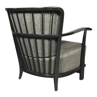 1940s Danish Fritz Hansen Black Lacquered Lounge Chair