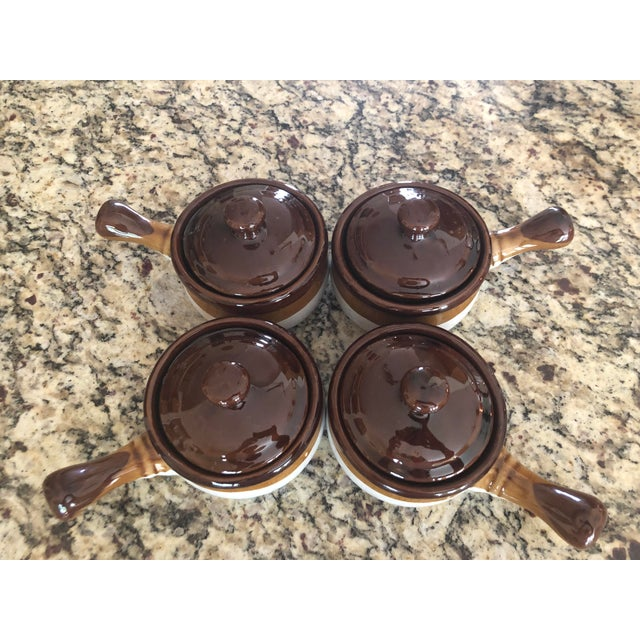 Stoneware French Onion Soup Bowls With Handles & Matching Lids - Set of 4 For Sale - Image 9 of 13