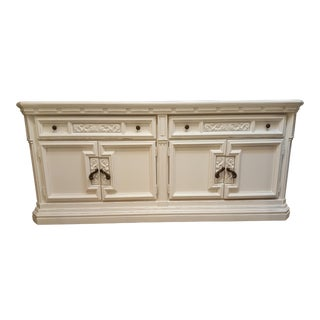 1970s Boho Chic Painted Ivory Credenza For Sale