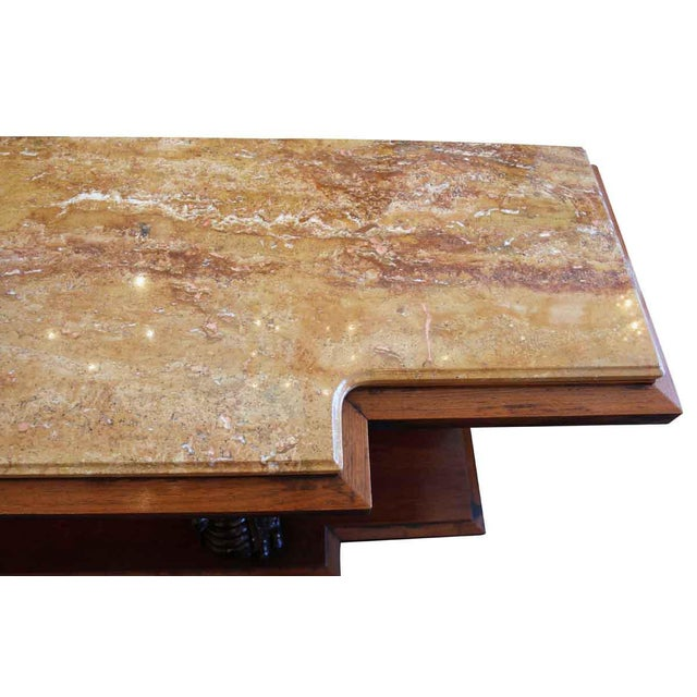 Walnut Mid 20th Century Vintage Marble Top Walnut Console Table For Sale - Image 7 of 8