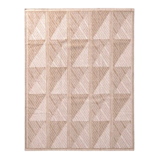 Scandinavian Style Geometric Beige Brown Wool Kilim Rug For Sale